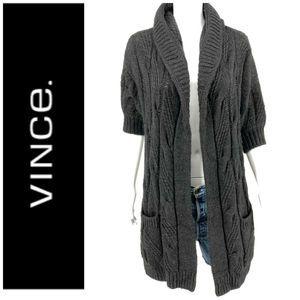 vince. Sz S Chunky Alpaca Cardigan Sweater Hooded